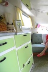 The 1950s caravan has been faithfully restored.