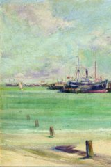 <i>Port Melbourne</i> c.1913-14, (detail) Ambrose Patterson, oil on board, private collection.