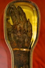 A rare relic of St Francis Xavier (his right hand) at the Goan community mass, Monash university, in 2012.