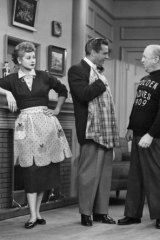 Lucille Ball, Desi Arnaz and William Frawley in a scene from the hit TV comedy series <i>I Love Lucy</i>.