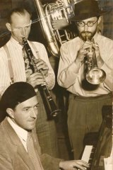 Early days ... Graeme Bell (wearing a beret) with Pixie Roberts and brother Roger on trumpet in 1948.