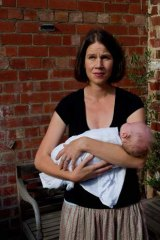 Publisher Katie Risdale, 36, with baby Lachlan.