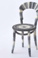 A woolly number: Johanna Griggs' chair took eight balls of wool and quite a few gluesticks.