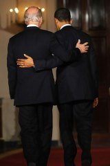 Vice-President Joe Biden and Barack Obama after the bill passed.