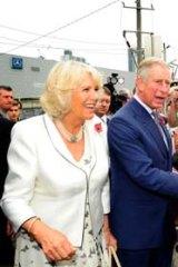 Charles and Camilla greet well-wishers - and bulldog Bert.