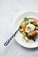 Avocado, salmon and poached egg.
