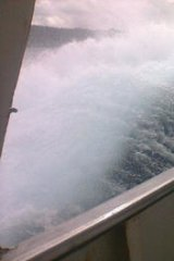 A passenger who drowned sent an image of the rough seas before the ferry sank.