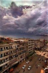 Overlooking the main street of Phnom Penh.
