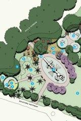 The draft concept plan for the Botanic Gardens.