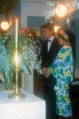 Liu and Shultz on their wedding day in Kings Cross.