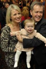Bill Shorten, Chloe and daughter Clementine.