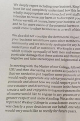 An extract from the letter of apology by Wesley College students to Kings Court Massage Parlour.