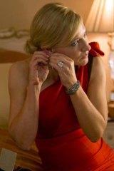 Cate Blanchett wearing a dress picked by costume designer Suzy Benzinger in Woody Allen's  <i>Blue Jasmine</i>.