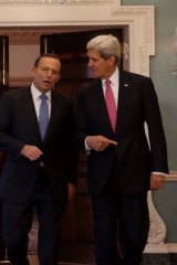 Prime Minister Tony Abbott and US Secretary of State John Kerry, who will both be in Jakarta for Mr. Joko's inauguration on Monday.