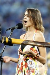 """""""You need to think before you blurt things out"""" ... Corey Kirk singing the Australian National Anthem at ANZ stadium."""