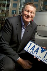 Premier Denis Napthine launches VIctoria's new number plates.