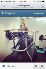 On track: Canberra Capitals star Lauren Jackson running on an Anti-Gravity treadmill at AIS as she continues her recovery from a knee surgery.
