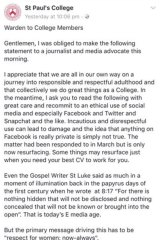 A post on the Facebook page of St Paul's College by the warden, Ivan Head.