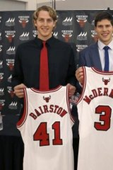 The Chicago Bulls' first and second round draft picks Cameron Bairstow (41) from Brisbane, Australia, and Creighton University star Doug McDermott.