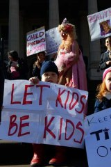 Protest at Parliament House - against child pageants .