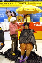 A haircut is just one of many services being offered to the 4000 protesters.