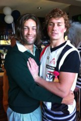 Jimmy Bartel (left) and Mitch Duncan show off their costumes.