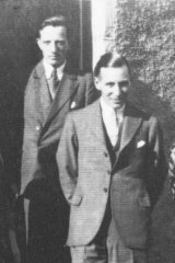 Ian Fleming (at rear) and Denis Emerson-Elliott at the MI6 training house in Deeside, Scotland.