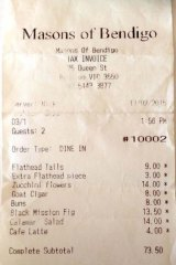 Receipt for lunch with John Wolseley at Masons of Bendigo.