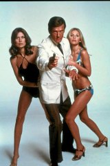 Roger Moore with Maud Adams and Britt Ekland.