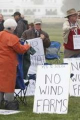 Protestors at the anti-wind farm rally out the front of Parliament House in Canberra on Tuesday June 18.