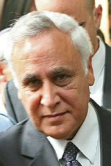 Awaiting sentence ... Moshe Katsav arrives at court.