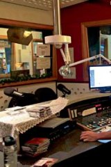 Rock'n'roll radio . . . Declan Byrne, who presents the morning show on Mondays and Tuesdays,  in the FBi studio.