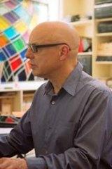 Brian Eno with collaborator Rick Holland.