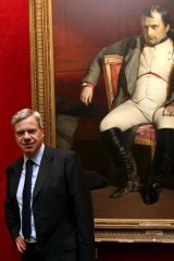 Michael Kroger before the auction in France with a portrait of a post-abdication Napoleon Bonaparte from the school of Delaroche.