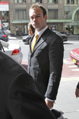 Brett Stewart enters the District Court in Sydney where he was found not guilty of sexual assault.