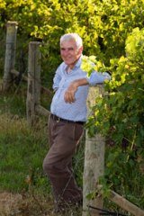 Stellar backdrop ... Phillip Shaw in the vineyard at his Orange winery.