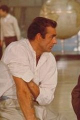 Ian Fleming (right) with Sean Connery during the filming of <i>Dr No</i>.