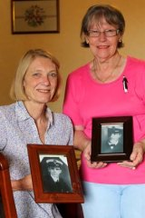 Robyn Rosenstrauss, left, whose great uncle was Fettes, and Vera Ryan, a relative of crewman Jack Messenger.