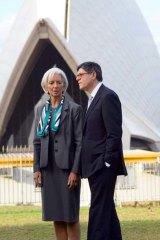 Chatting: Christine Lagarde with US Treasury Secretary Jacob Lew.