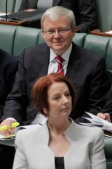 After the fall ... Kevin Rudd and Julia Gillard pictured earlier this month.