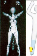 """Full body scan (left) and the """"stick-figure"""" imaging Australia will be using."""