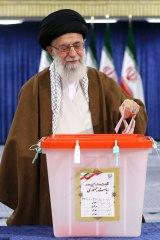 Iranian supreme leader, Supreme Leader Ayatollah Ali Khamenei casts his ballot for the presidential election.