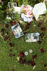 A heart-shaped tribute for Simone Strobel, laid by her boyfriend Tobias Suckfuell.