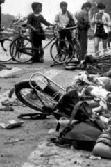 The bodies of dead civilians lie among mangled bicycles near Tiananmen Square on June 4, 1989.