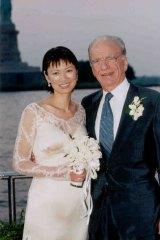 Happy couple: Rupert Murdoch and Wendi Deng were married on board Murdoch's yacht in New York.