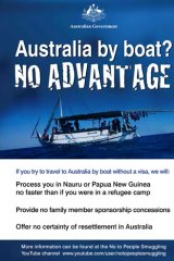 A poster from the new asylum-seeker campaign.