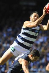 Geelong's James Podsiadly shows off his marking prowess.