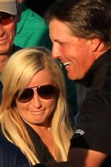Phil Mickelson celebrates with his wife Amy.