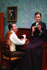 Peter Holland, left and Natalie Waldron in Gaslight at Theatre 3.