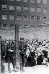 Horrific history ... The <i>umschlagplatz</i>, the point from which hundreds of thousands of Jews were deported to death camps from the Warsaw ghetto, Poland, in the summer of 1942.